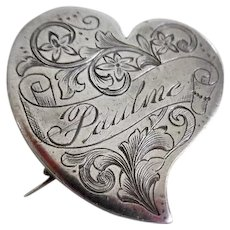 Antique Victorian Sterling Silver Heart Shape Name Pin PAULINE