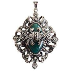 Vintage Sterling Chrysoprase Marcasite Pendant Necklace