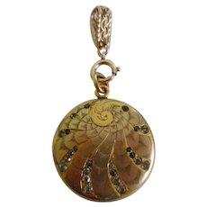 Antique Victorian Art Nouveau Gold Filled & Paste Stones Locket