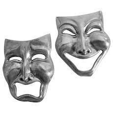 Bold Vintage Sterling Silver Comedy Tragedy Mask Pins