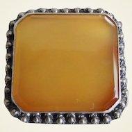 Beautiful Sterling Cannetille Bevel Cut Butterscotch Agate Pin