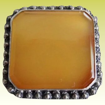 Beautiful Sterling Cannetille Bevel Cut Butterscotch Agate Pin