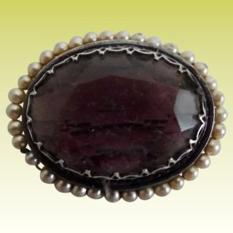 Antique Victorian Silver Amethyst Paste Faux Pearl Brooch