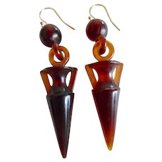Antique Victorian Faux Tortoiseshell Celluloid Urn Earrings - Red Tag Sale Item