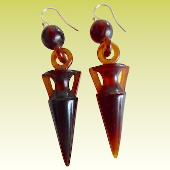 Antique Victorian Faux Tortoiseshell Celluloid Urn Earrings