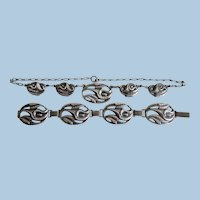 Vintage Sterling Silver Calla Lily Matching Necklace and Bracelet Set