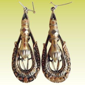 Antique Victorian Gold Tone Dangle Earrings