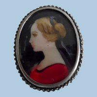 Early Vintage Hand Painted Portrait Sterling Pin/Pendant
