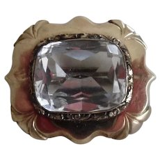 Antique Victorian Rolled Gold Big Clear Faceted Paste Stone