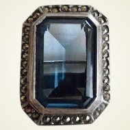 Beautiful Vintage 1930's Art Deco Sterling Marcasite Blue Natural Stone Pin