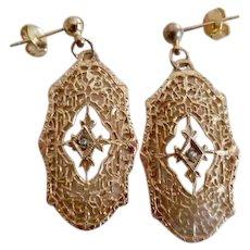 Antique Edwardian 12K G.F. Diamond Paste Dangle Earrings