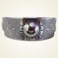 Vintage Sterling Silver Hand Wrought Cuff Bracelet