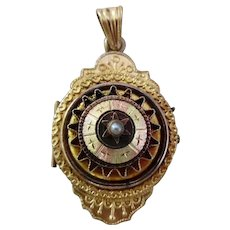 Antique Victorian Etruscan Revival Gold Plated Locket Pendant