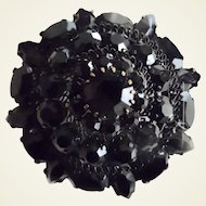 Vintage Large Austria Black Rhinestones Pin