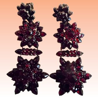 Antique Victorian Bohemian Faceted Garnet Hinged Earrings