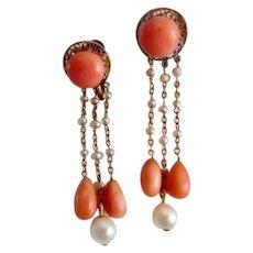 Antique Edwardian 14K Coral Natural Pearl Dangle Screw Back Earrings