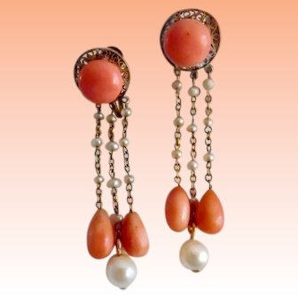 Antique Edwardian 14K Coral Natural Pearl Dangle Screw Back Earrings
