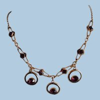 Vintage 1950's Gold Filled Faux Amethyst Festoon Necklace