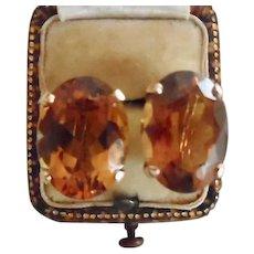 Fabulous 18K Yellow Gold Fancy Citrine Screw Back Earrings