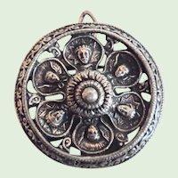 Antique Victorian Renaissance Revival Solid Sterling Silver Pin/Pendant