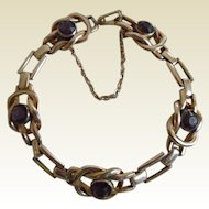 Vintage Gold Plated Faux Amethyst Bracelet 1940's