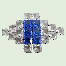 Vintage Art Deco French Huge Open Crystal Belt Buckle