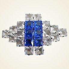 Vintage Art Deco French Huge Open Crystal Belt Buckle