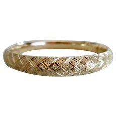 Beautiful 14K Yellow Gold Diamond Cut Hinged Bangle Bracelet