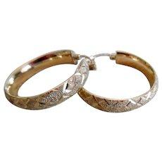 Beautiful 14K Yellow Gold Diamond Cut Large Hoop Earrings