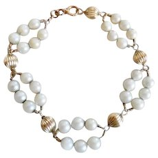 Fabulous Fifties 14K Gold Ribbed Bead Cultured Pearl Bracelet