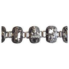 Vintage 1920's Egyptian Revival King Tut Silver Plate Panel Bracelet