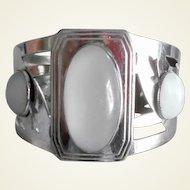 Vintage  BIG Art Deco Silver Metal Faux Moonstones Clamper Bracelet Signed R