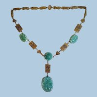 Vintage 1940's Art Deco Faux Jade Necklace Signed E for Eisenberg