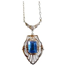 Art Deco Sterling Silver Pendant Necklace Blue Stone Gold Accents