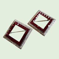 Art Deco Ruby Diamond Rhinestone Channel Set Pair of Pins