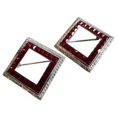 Art Deco Ruby Diamond Rhinestone Channel Set Pair of Pins