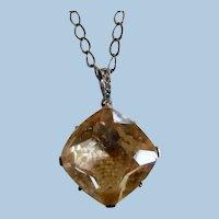 Art Deco Sterling Silver Faux Citrine Pendant Necklace