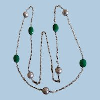 Vintage 1950-60's Sterling Silver Ball Chalcedony Long Chain Necklace
