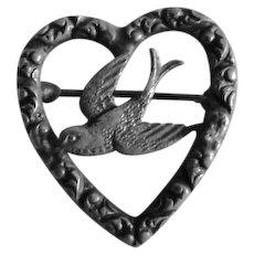 Victorian Silver Plate Love Bird Heart Pin