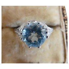 Vintage Sterling Blue Topaz Edwardian Style Ring