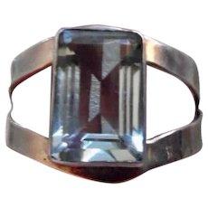 Huge Mexican Sterling Silver Faux Blue Topaz Cuff Bracelet