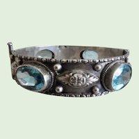 Vintage 800 Silver Pin Hinge Bracelet With Faux Aquamarines