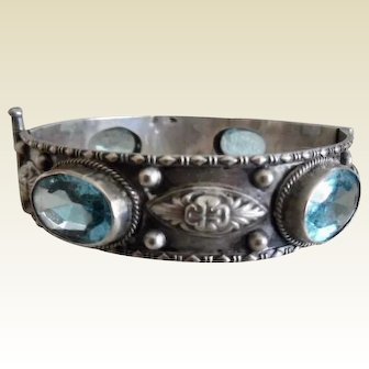 Vintage 800 Silver Pin Hinge Bracelet With Faux Aquamarines