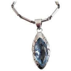 Vintage Mexican Sterling Blue Topaz Pendant Necklace