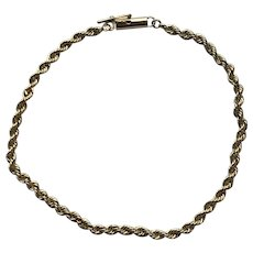 Vintage 14K Yellow Gold Rope Chain Bracelet