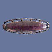Edwardian Sterling Silver Cabochon Amethyst Paste Pin