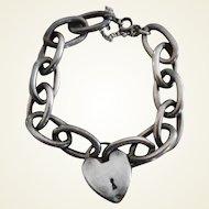 Vintage Sterling Silver Big Link Chain Heart Faux Locket Bracelet