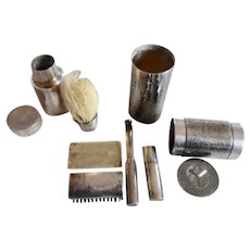1920's Sterling Silver Man's 9 Piece Gillette Travel Shaving Kit