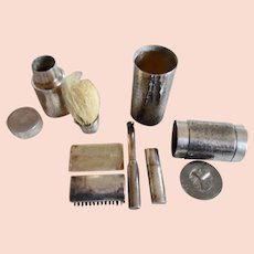 1920's Sterling Silver Man's 9 Piece Gillette Travel Shaving Kit