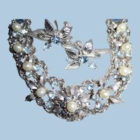 Fabulous 50's  Faux Pearl Sky Blue Rhinestone Necklace and Earring Set